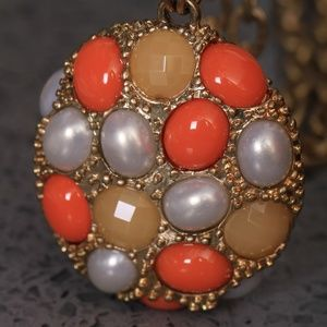 Lia Sophia Pearl, Gold and Coral Long Necklace